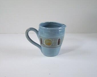 Blue ceramic milk jug, creamer by Pottery de la Falaise in Meschers vintage  Made in France
