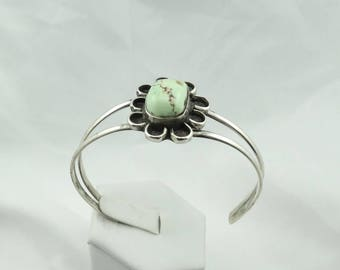 Sterling Silver Green Turquoise Flower Design Cuff Bracelet Southwest Native American  #FLOWER-CF1