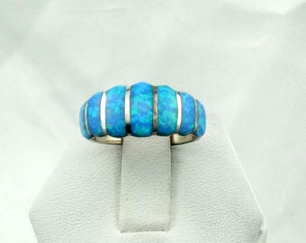 Gorgeous Blue Opal Inlay Vintage Sterling Silver Ring  #BLUEOPAL-SR4