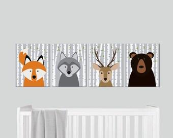 Printable Nursery Art - Woodland Nursery - Gender Neutral - Forest Animal Wall Decor - Nursery Wall Art - Woodland Animals - Nursery Decor