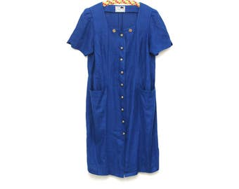 Vintage linen dress, plus size plain blue long Dirndl summer dress, buttons and short sleeves, Salzburger Tracht, folk fashion 1980s Austria