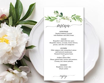 Wedding Menu Template, Printable Greenery Floral Menu Template, Editable, Garden Greenery