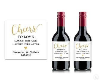 Mini Wine Bottle Labels, Printable Wine Bottle Label Template, Personalized and Editable, Cheers, VW10