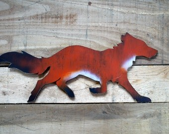 wood fox, wild life, fox, wolf, detailed fox, hunting, wood sign, rustic, animal, wooden fox sign, fox Picture, orange, red, white, black