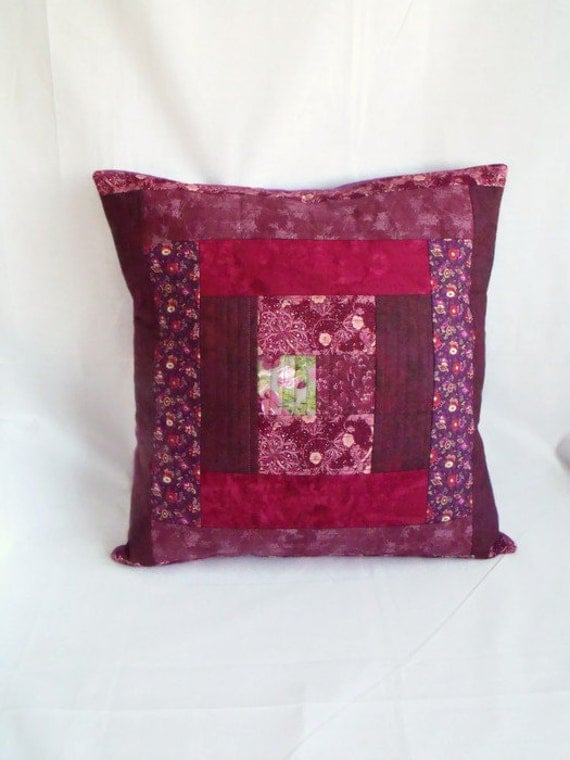 scatter cushion, throw accent pillow, patchwork cushion cover, quilted pillow slip, wine fabric, 15 x 15