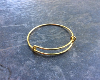 "Gold Child Size Adjustable Bangle Bracelet 2"" diameter Children's bangle bracelet expandable bangle High Quality Shiny yellow gold finish"