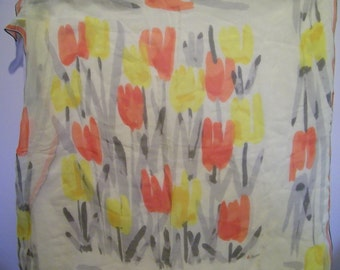 Vintage Vera Chiffon Yellow Orange Tulip Scarf