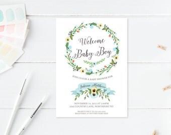 Baby Shower Invitation, Blue Baby Shower Invitation, Boy Baby Shower Invitation, Printable Baby Shower Invite, Trendy Printables [331]