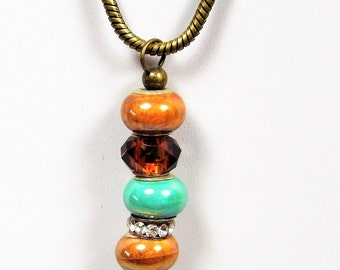 Gold, Tan and Green Stacked Boho Bead Necklace