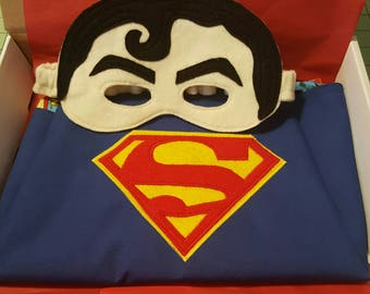Superman Cape or Mask, Superhero Cape, Felt Mask
