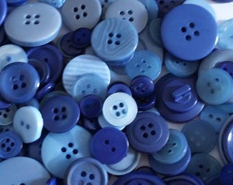 Blue Button Mix - Assorted Buttons - Craft Buttons - Sewing Buttons - Plastic Buttons - Buttons For Clothing - 50g (approx. 100pcs) - CUK11