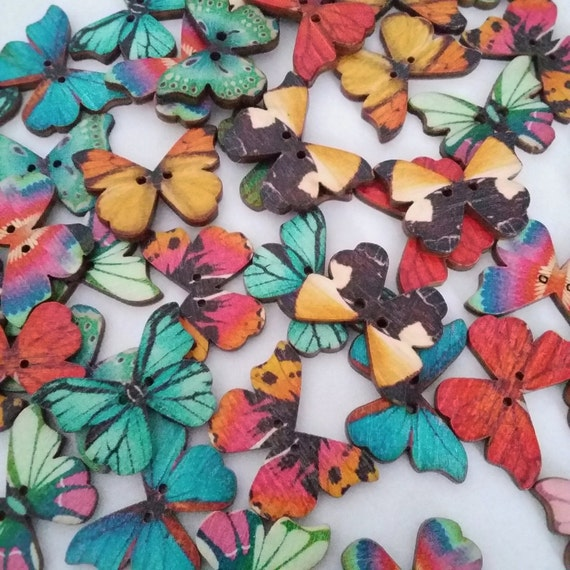 22pcs Wooden Butterfly Buttons - Assorted Buttons - 2 Hole Buttons - Scrapbook Butterflies Decorative Cardmaking Embellishment - B23787