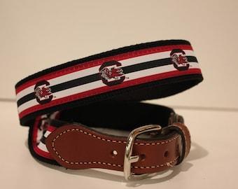 University of South Carolina Gamecocks Men's  Web Leather Belt