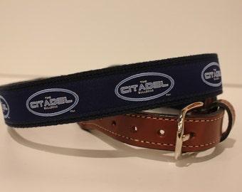 The Citadel Bulldogs  Men's  Web Leather Belt