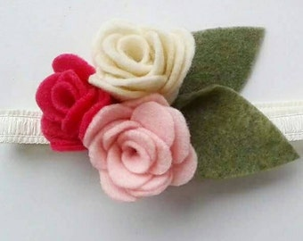 Clustered Small Felt Roses Baby/Toddler/Child Headband