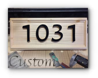 Custom carved Address Plate. Solid wood. One Piece.