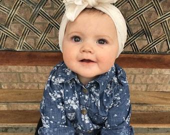Knotted Ruffled Headbands, Toddler Headbands, Infant Headbands, Knotted Headbands