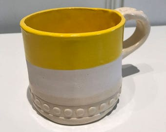 Yellow and White Dot Mug