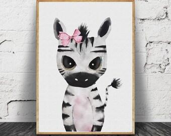 zebra nursery watercolour painting