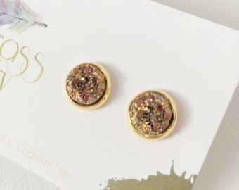 10mm Magenta & Gold Faux Druzy Earrings