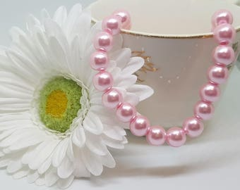 "Glass Pearl Beads ~PINK~ 10mm Bead, 1mm Hole; approx.  16"" Strand (approx 40 beads)"