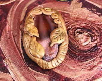 mystical clay pendant agate slice earth spirit