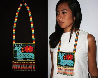 Huichol Necklace, El Venado Azul Necklace, Native American Style Necklace, Huichol Jewelry, Spirit Guide Necklace, Native Beaded Necklace
