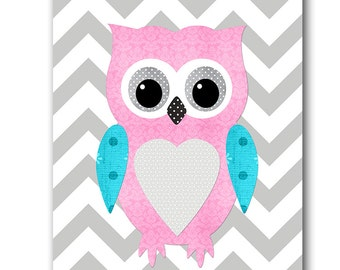 Pink Gray Teal Owl Decor Baby Nursery Decor Digital Download Baby Girl Nursery INSTANT DOWNLOAD art Digital Art Download Print 8x10 11X14