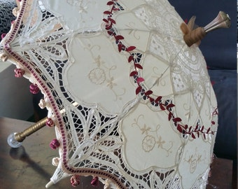 Renaissance,Pirate, Steampunk, Victorian Ivory and Maroon Parasol