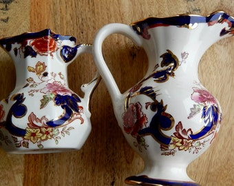 A Pair of Vintage Masons Ironstone Mandalay Water Jugs. Very Colourful Pattern in Excellent Condition.