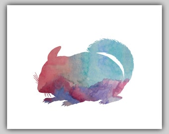 Watercolor, Water color, Chinchilla, Art, Chinchilla Print, Girl Nursery, water color pictures, wall art prints, girl nursery decor, spring