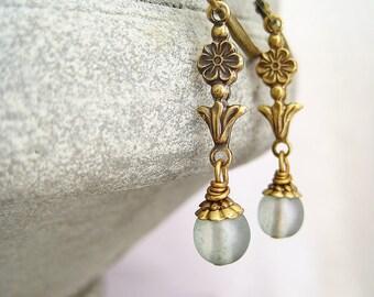 Earrings sage green matte czech beads vintage bronze flower earrings green earrings bronze