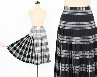 50s Plaid Reversible Pleated Skirt | Black White Skirt | In-N-Out Canada|  Small