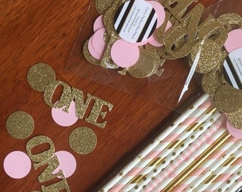 Gold and Pink Birthday confetti, pink and gold confetti, 1st birthday, glitter one confetti, party decoration, 1st birthday- 50 total pieces