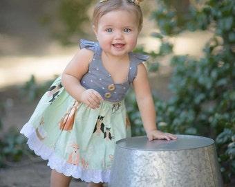 Girl Dress, Girl birthday Dress, girl country dress, baby Dress, girl boutique dress, birthday Dress, vintage dress, woodlands dress