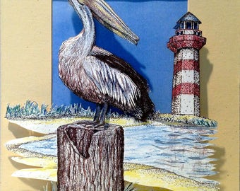 3D Paper-Cut Art of the Shore with Pelican and Lighthouse
