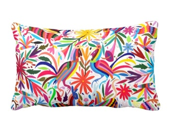"Colorful Otomi Throw Pillow, Printed Bright Boho/Mexican Animal & Nature Print 13 x 21"" OUTDOOR or INDOOR Pillows"