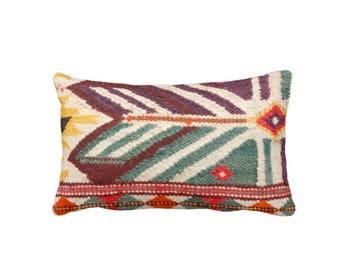 """Moroccan Carpet Print Throw Pillow, Boho/Ethnic Geometric Carpet Pattern 13 x 21"""" Lumbar OUTDOOR Pillows, Red, Orange, Pink & Brown"""