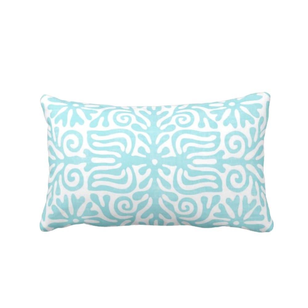 folk print throw pillow lumbar 13 x 21 aqua u0026 white mexican pattern outdoor or indoor pillows bright bluegreen