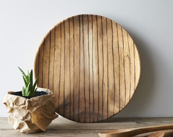 Striped Wooden Plate // Serving Plate // Fruit Plate