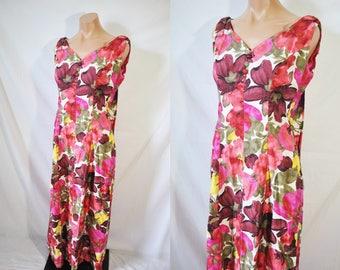 Vintage 50s Pink Floral Hawaiian Mumu Boho Maxi Dress Summer Casual Dress Resort Wear Honolulu Luau Day Dress Mid Century Vacation Dress