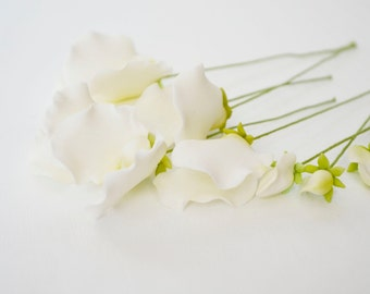 White Sweet Pea Sugar Flowers