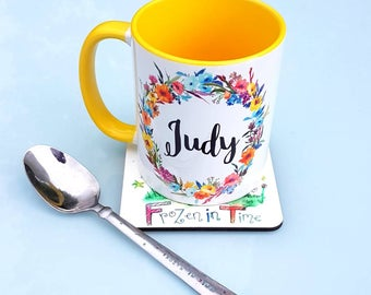 Personalised name mug | floral wreath | personalized mug | custom coffee mug | Teacher gift | tea mug | Gift for her | teacher appreciation