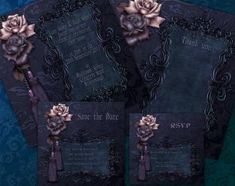 Luxury Dark Gothic Wedding Invitation Package Printable