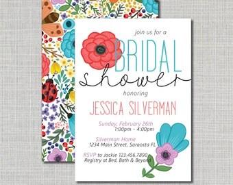 Bridal Shower Invitation // Wedding Shower Invitation // Bright Flower Bridal Shower // Colorful Flower Invitation // Printed Invitation