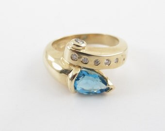 14k Yellow Gold Blue Topaz And Diamond Snake Ring Size 6 3/4