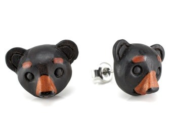 "Hand Carved- ""Black Bear Moji"" -Ebony Wood with Sabo Wood Inlay Stud Earring - Zoo Moji"
