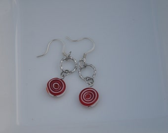 Red & White Dangle Earrings
