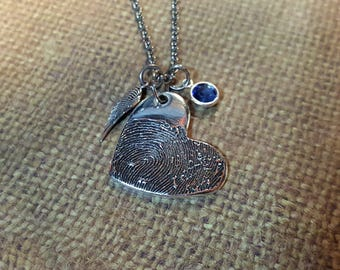 INK-1 MEDIUM FINGERPRINT heart pendant in solid Fine .999 Silver-includes angel wing & birthstone