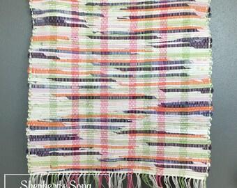Handwoven Purple Pansy Rag Throw Rug